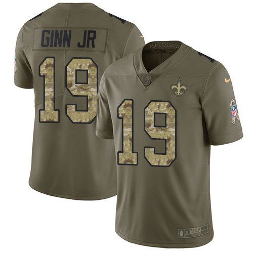 Nike Saints 19 Ted Ginn Jr. Olive Camo Salute To Service Limited Jersey