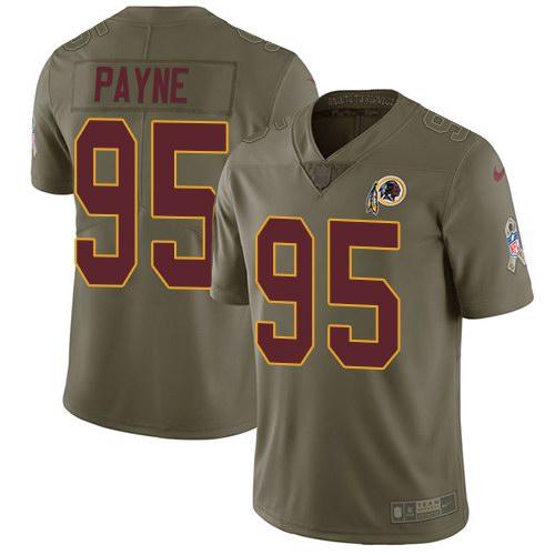 Nike Redskins 95 Da'Ron Payne Olive Salute To Service Limited Jersey
