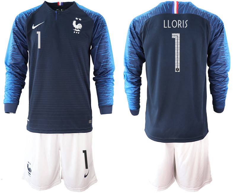 France 1 LLORIS 2-Star Home Long Sleeve 2018 FIFA World Cup Soccer Jersey