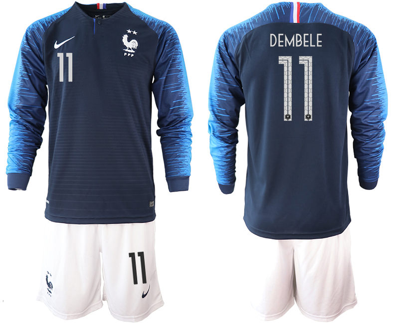 France 11 DEMBELE 2-Star Home Long Sleeve 2018 FIFA World Cup Soccer Jersey