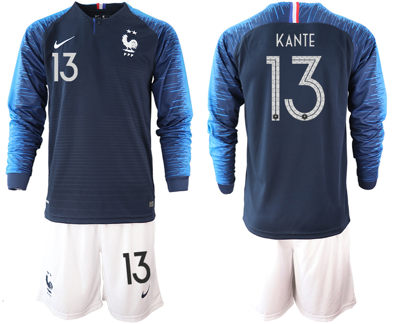 France 13 KANTE 2-Star Home Long Sleeve 2018 FIFA World Cup Soccer Jersey