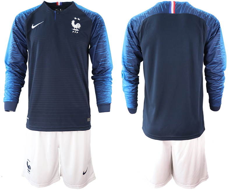 France 2-Star Home Long Sleeve 2018 FIFA World Cup Soccer Jersey