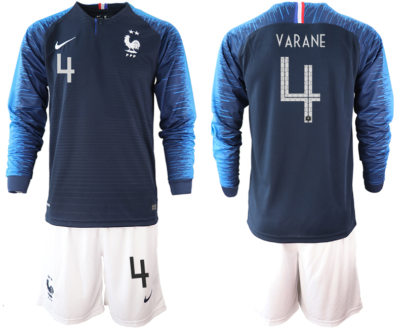France 4 VARANE 2-Star Home Long Sleeve 2018 FIFA World Cup Soccer Jersey