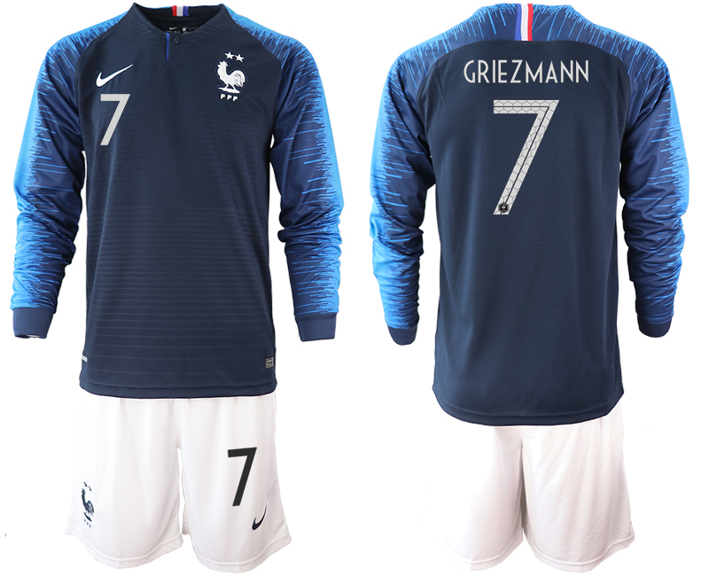 France 7 GRIEZMANN 2-Star Home Long Sleeve 2018 FIFA World Cup Soccer Jersey