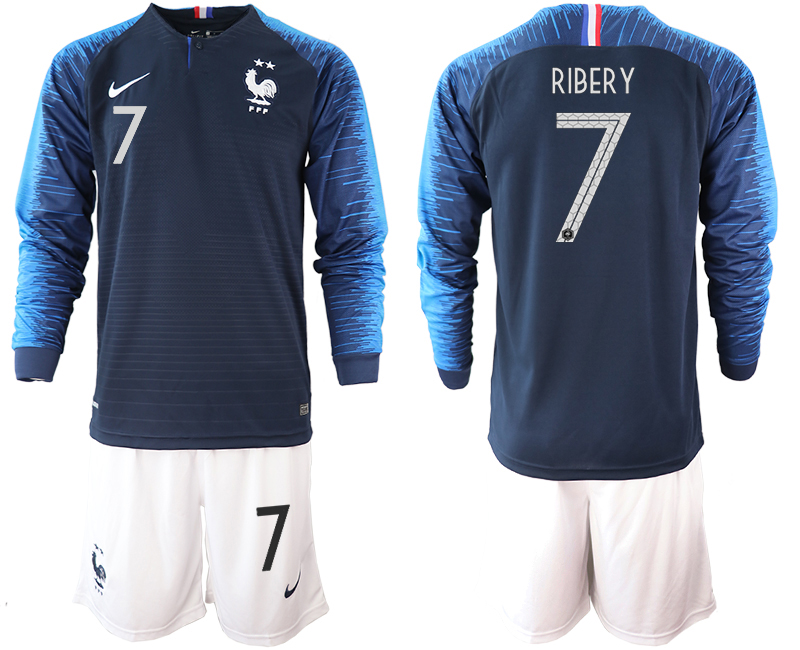 France 7 RIBERY 2-Star Home Long Sleeve 2018 FIFA World Cup Soccer Jersey