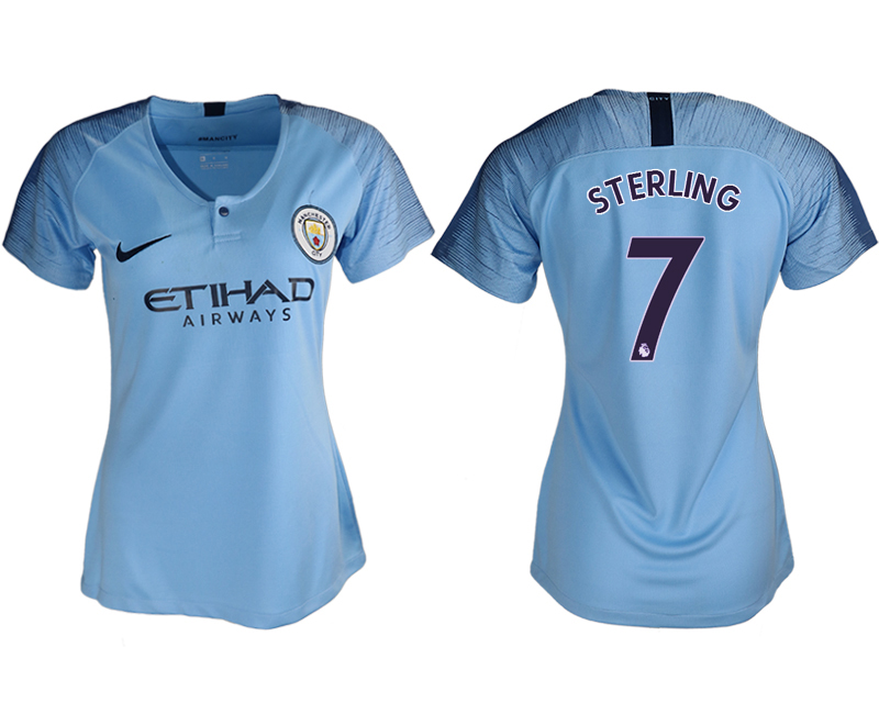 2018-19 Manchester City 7 STERLING Home Women Soccer Jersey