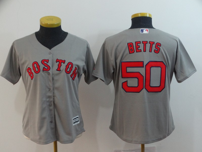 Red Sox 50 Mookie Betts Gray Women Cool Base Jersey