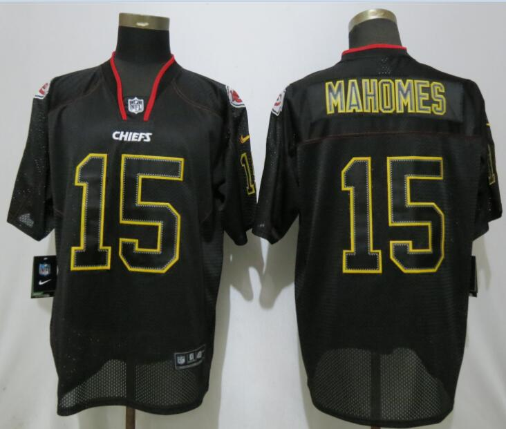 Nike Chiefs 15 Patrick Mahomes Black Lights Out Elite Jersey