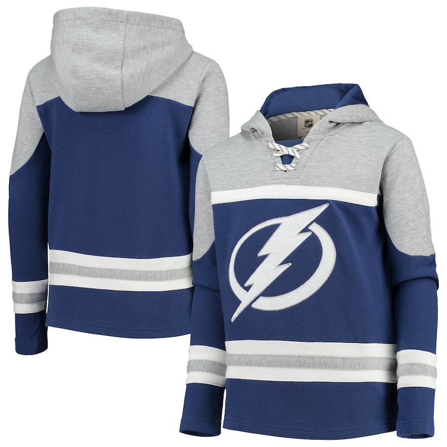 Tampa Bay Lightning Blue Men's Customized All Stitched Hooded Sweatshirt