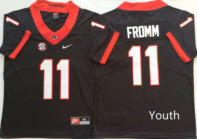 Georgia Bulldogs 11 Jake Fromm Black Youth Nike College Football Jersey