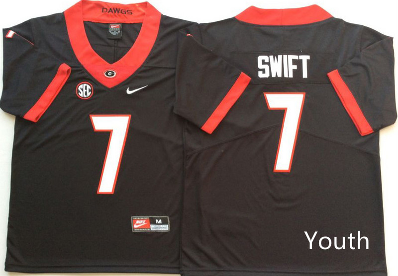 Georgia Bulldogs 7 D'Andre Swift Black Youth Nike College Football Jersey