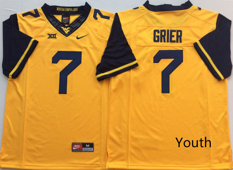 West Virginia Mountaineers 7 Will Grier Gold Youth Nike College Football Jersey