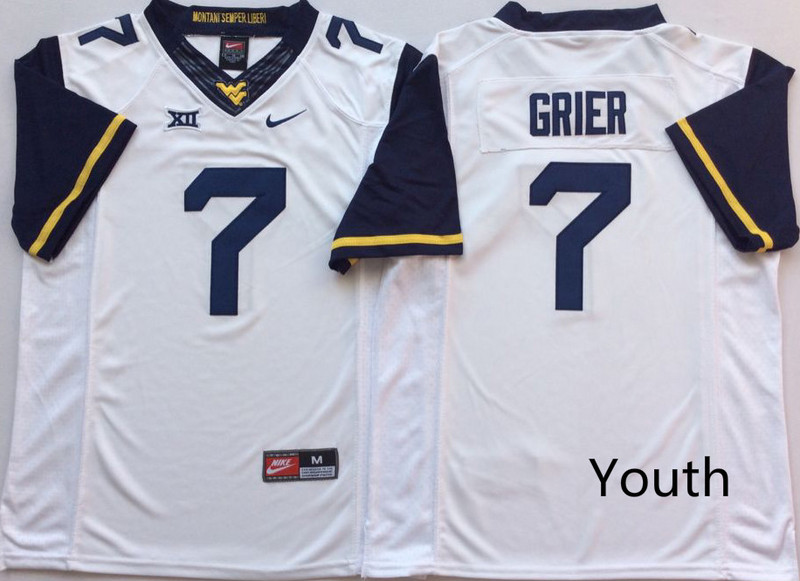 West Virginia Mountaineers 7 Will Grier White Youth Nike College Football Jersey