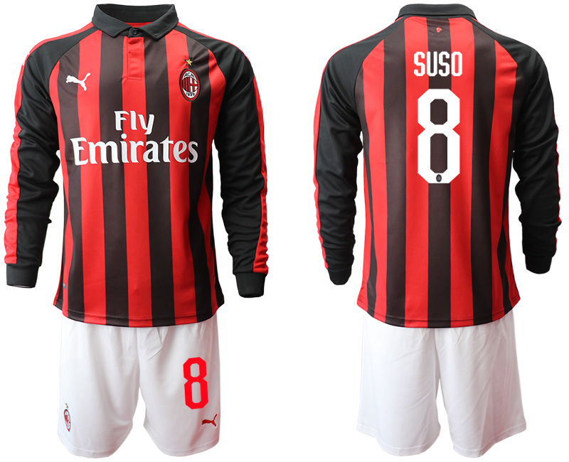 2018-19 AC Milan 8 SUSO Home Long Sleeve Soccer Jersey
