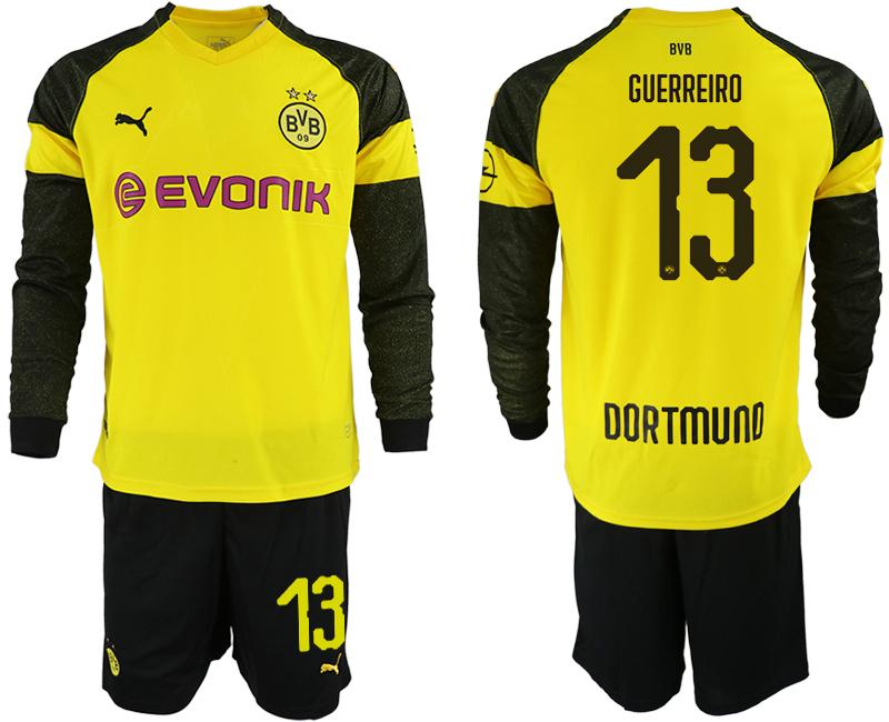 2018-19 Dortmund 13 GUERREIRO Home Long Sleeve Soccer Jersey