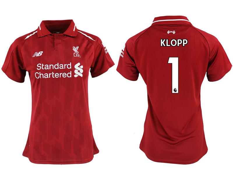 2018-19 Liverpool 1 KLOPP Home Women Soccer Jersey