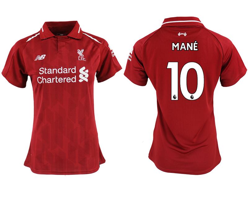 2018-19 Liverpool 10 MANE Home Women Soccer Jersey