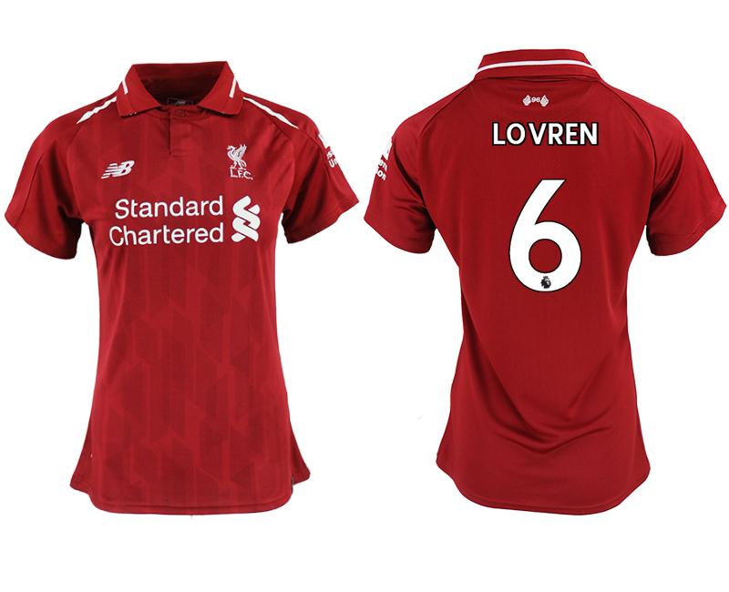 2018-19 Liverpool 6 LOVREN Home Women Soccer Jersey