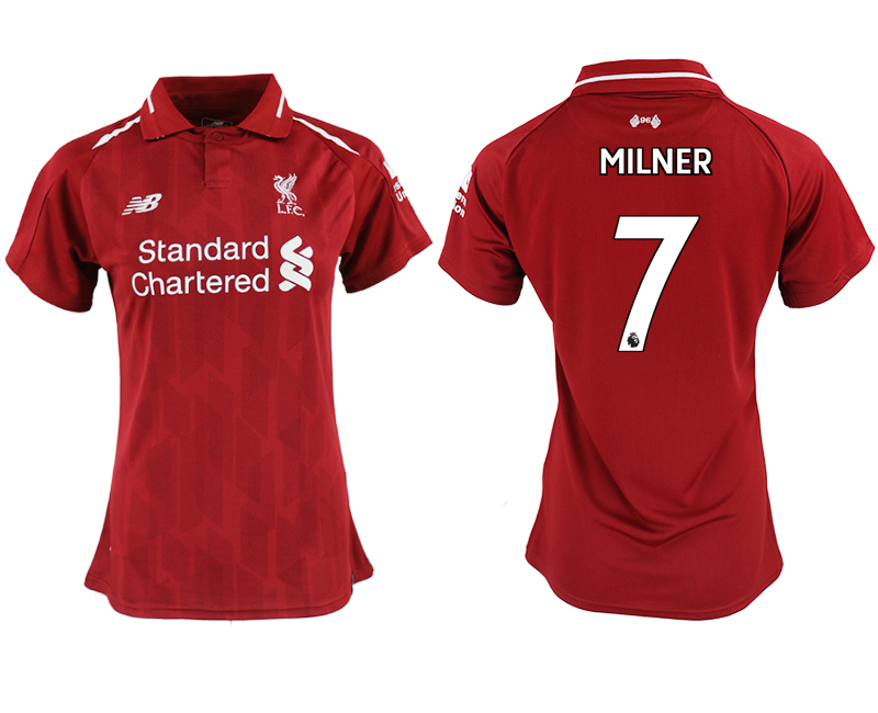2018-19 Liverpool 7 MILNER Home Women Soccer Jersey