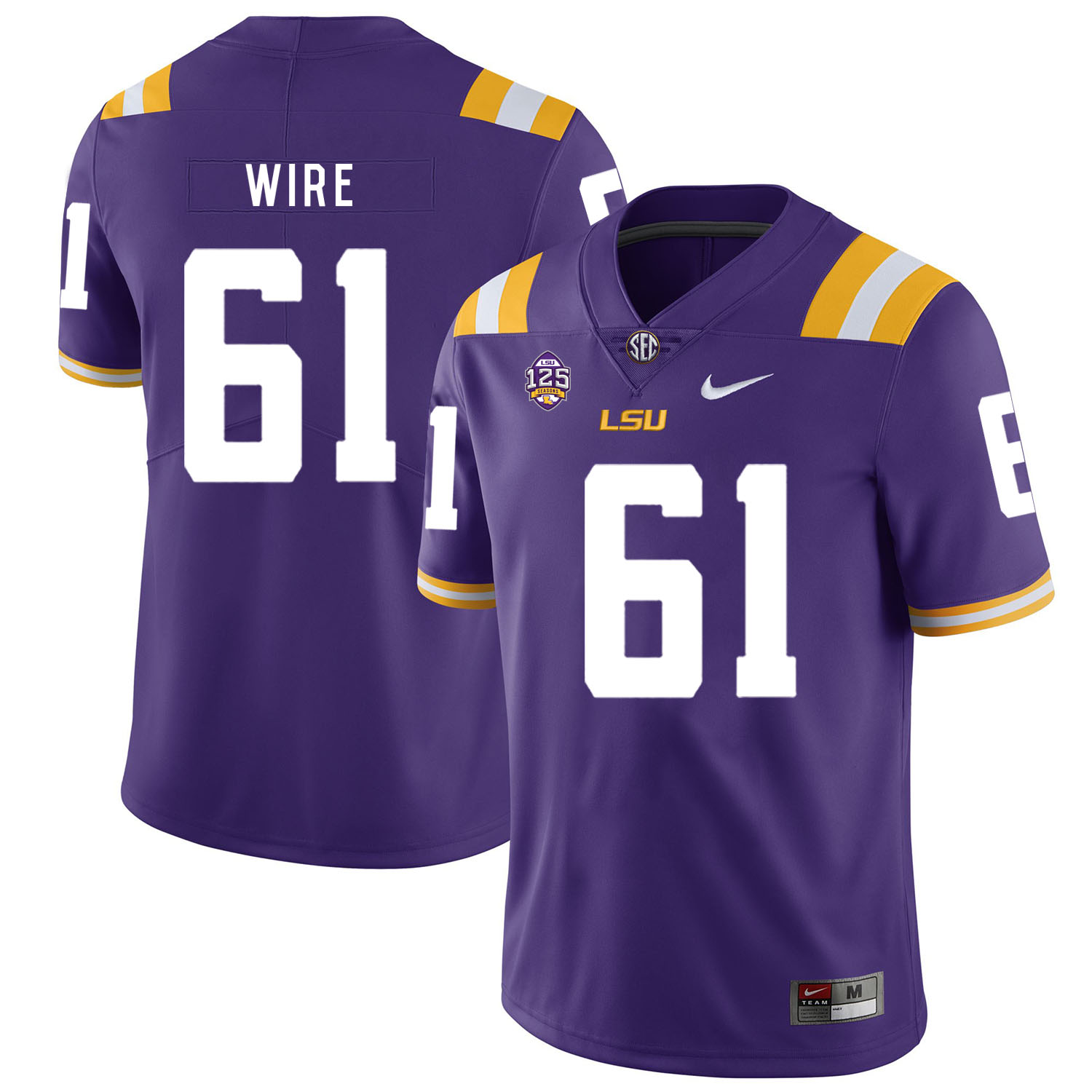 LSU Tigers 61 Cameron Wire Purple Nike College Football Jersey