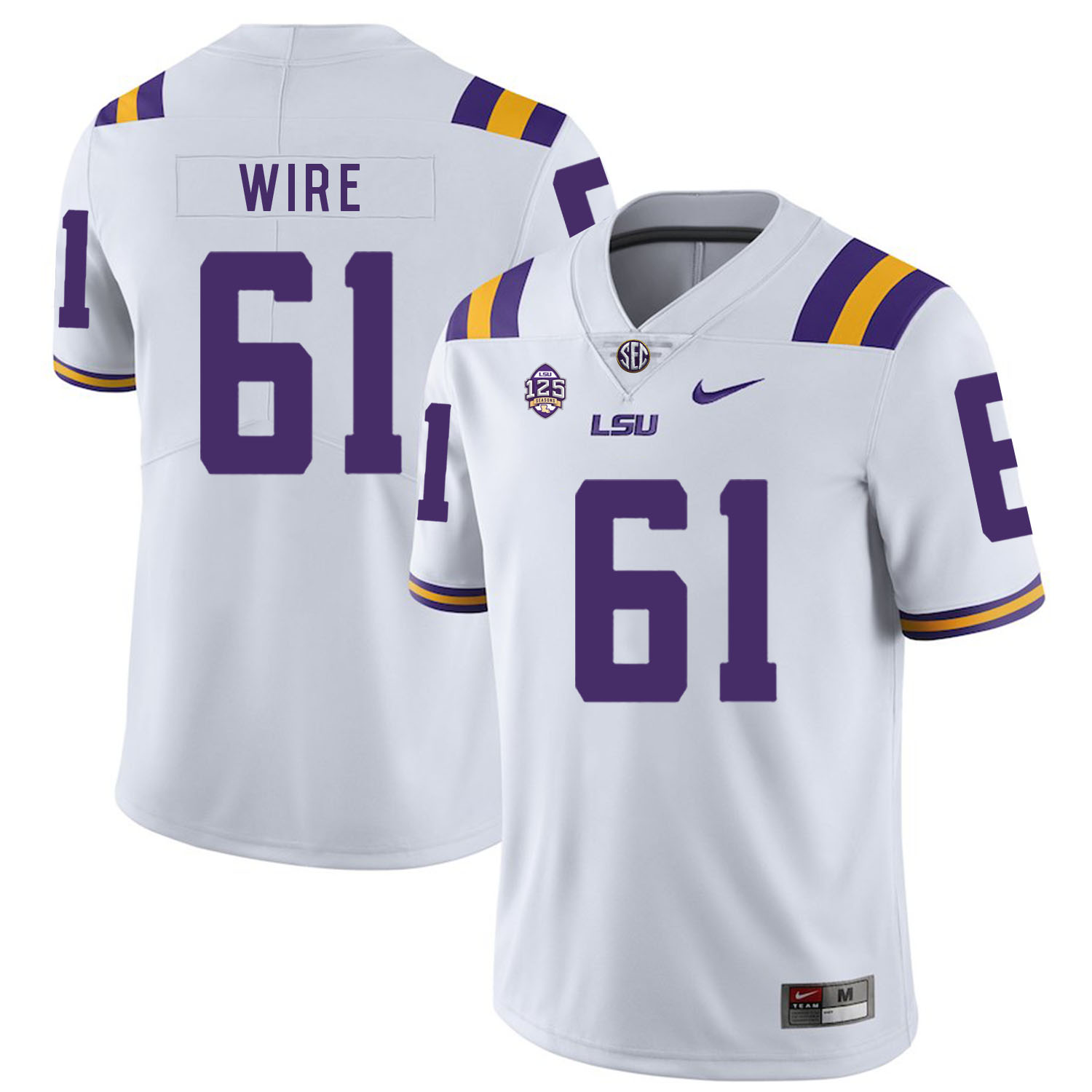 LSU Tigers 61 Cameron Wire White Nike College Football Jersey