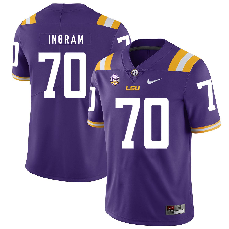 LSU Tigers 70 Edward Ingram Purple Nike College Football Jersey