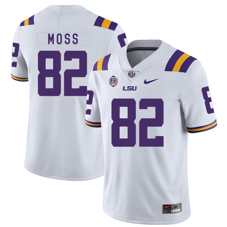 LSU Tigers 82 Thaddeus Moss White Nike College Football Jersey