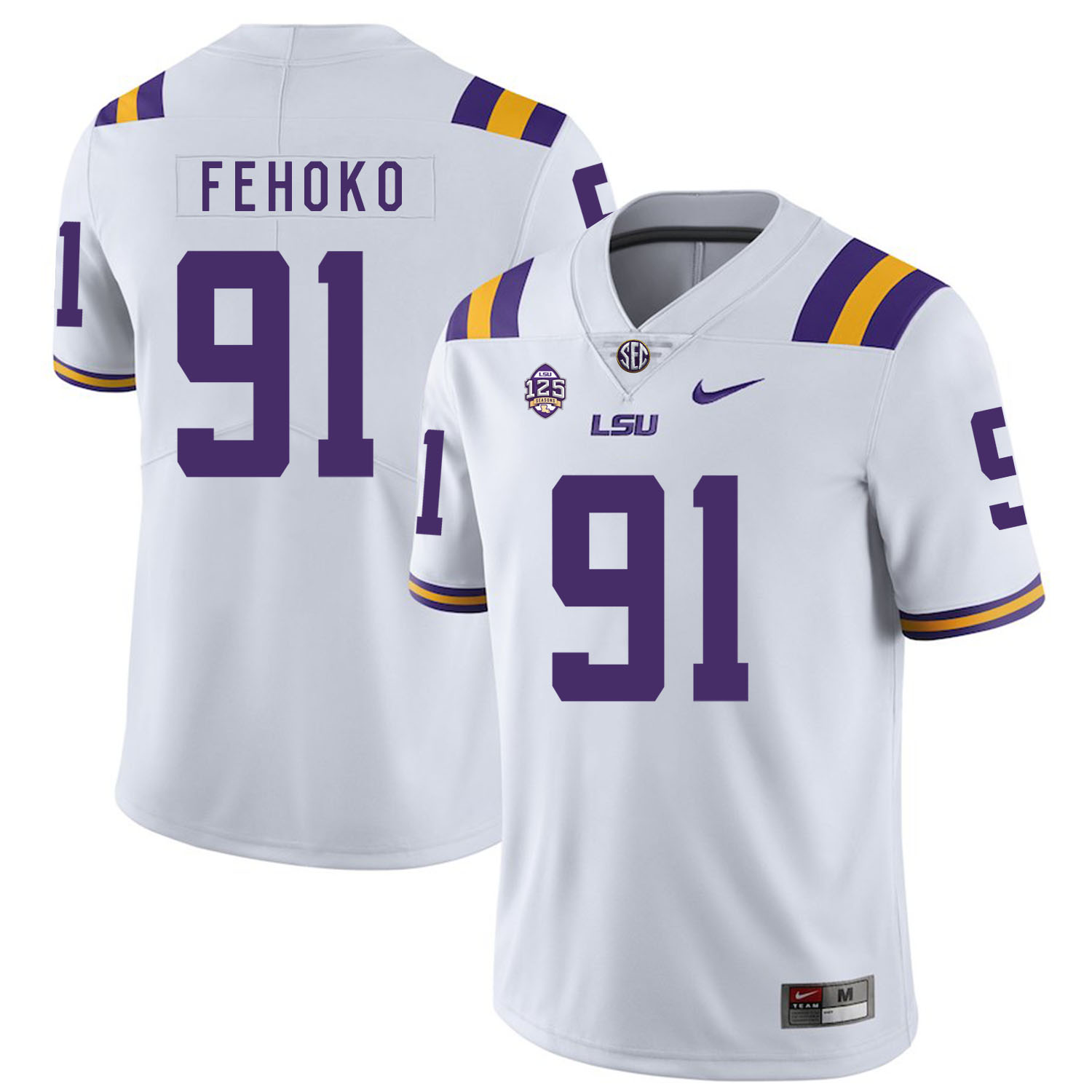 LSU Tigers 91 Beriden Fehoko White Nike College Football Jersey