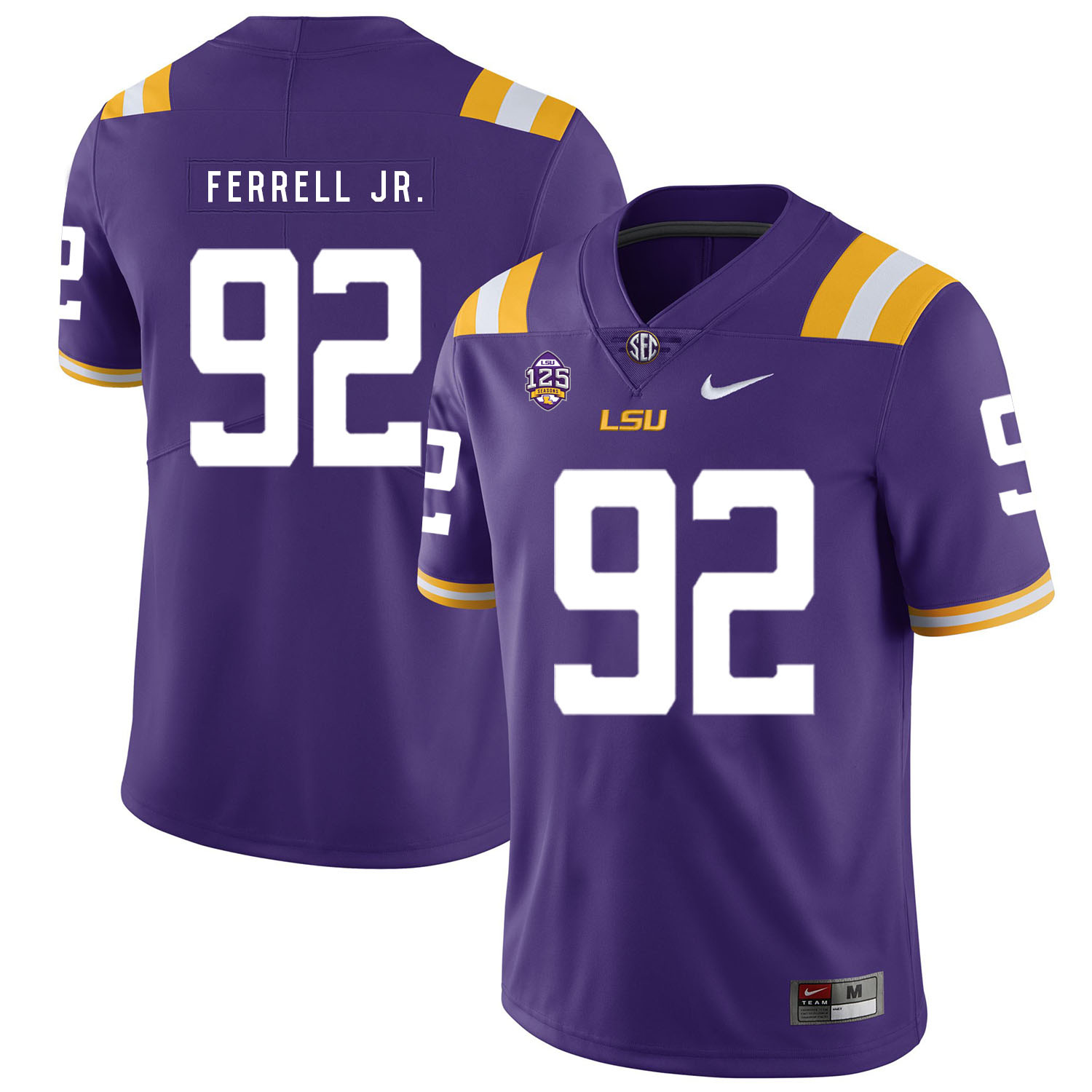 LSU Tigers 92 Neil Ferrell Jr. Purple Nike College Football Jersey