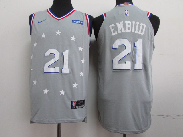 76ers 21 Joel Embiid Gray 2018-19 City Edition Nike Authentic Jersey
