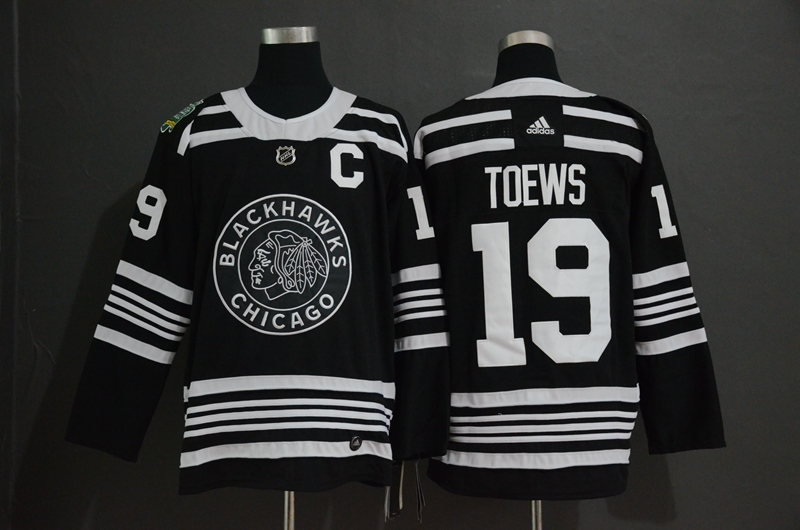 Blackhawks 19 Jonthan Toews Black 2019 Winter Classic Adidas Jersey