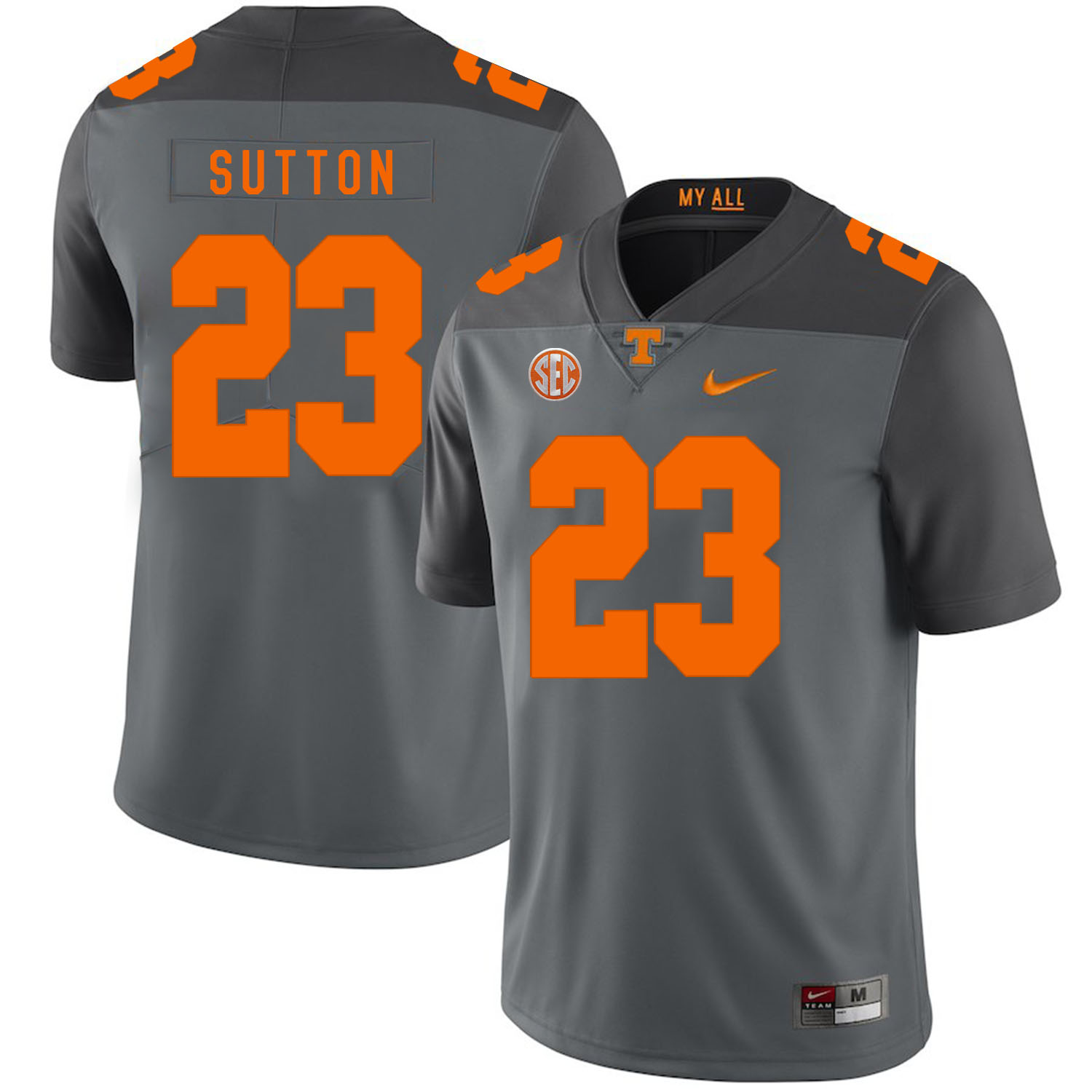 Tennessee Volunteers 23 Cameron Sutton Gray Nike College Football Jersey