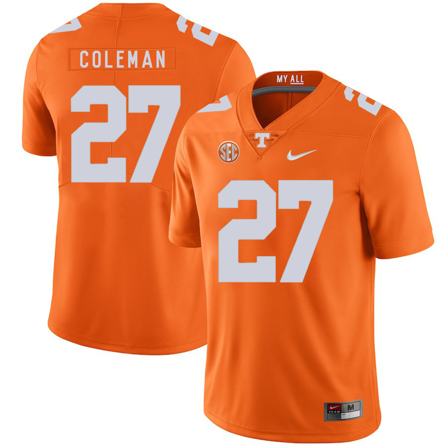 Tennessee Volunteers 27 Justin Coleman Orange Nike College Football Jersey