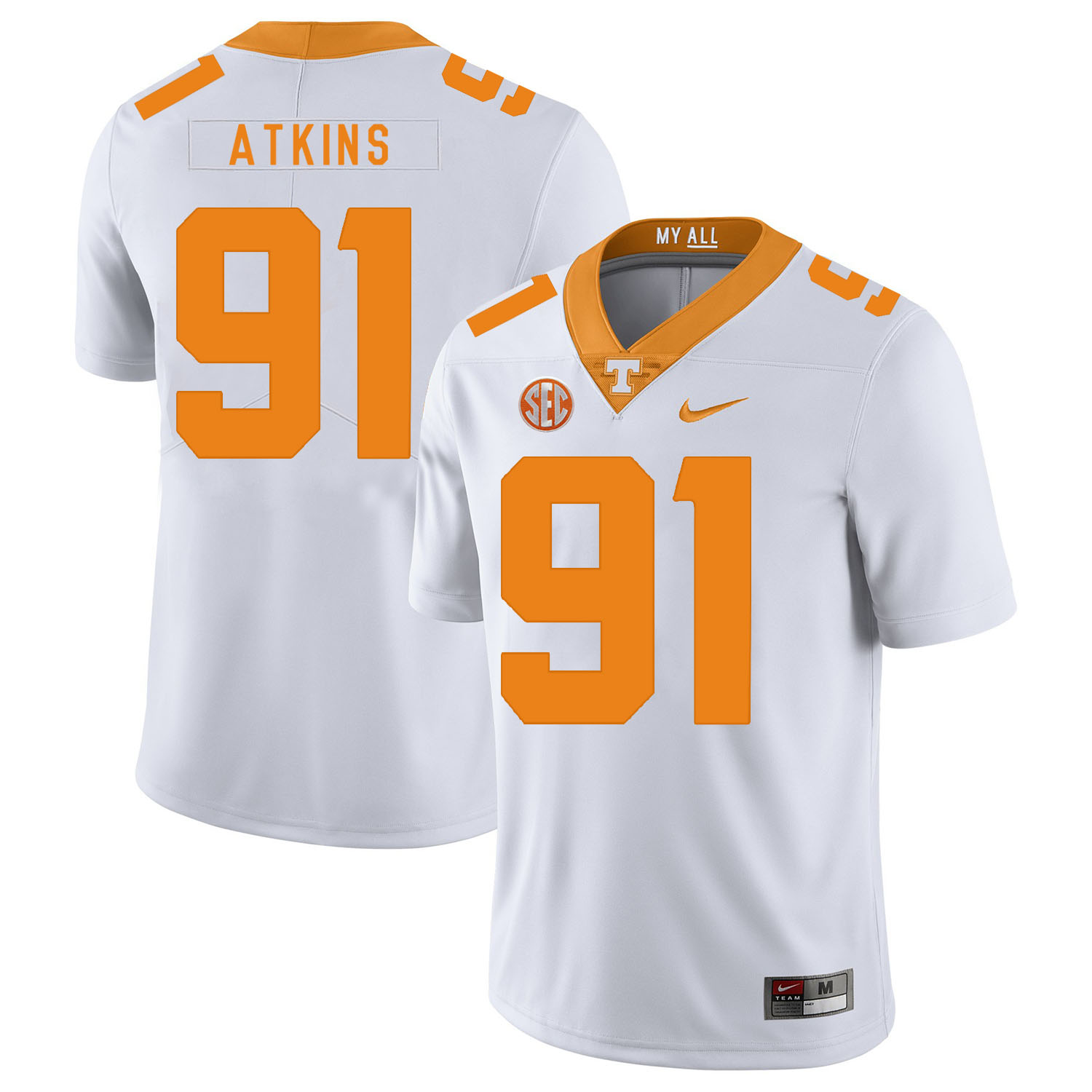 Tennessee Volunteers 91 Doug Atkins White Nike College Football Jersey