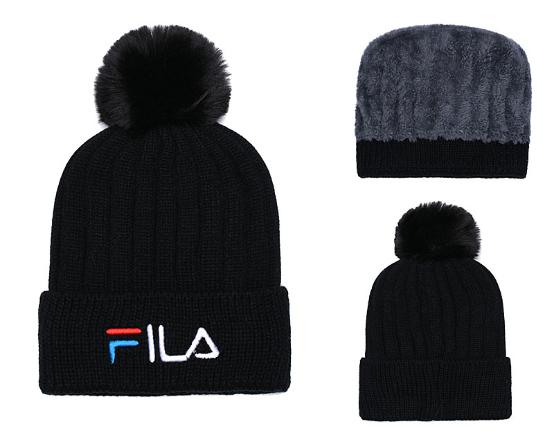 Fila Fresh Logo Black Fashion Sport Knit Hat SG