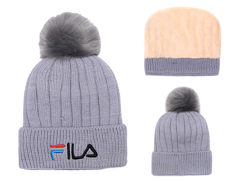 Fila Fresh Logo Gray Fashion Sport Knit Hat SG