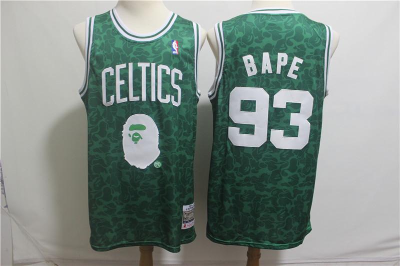 Celtics 93 Bape Green Hardwood Classics Jersey