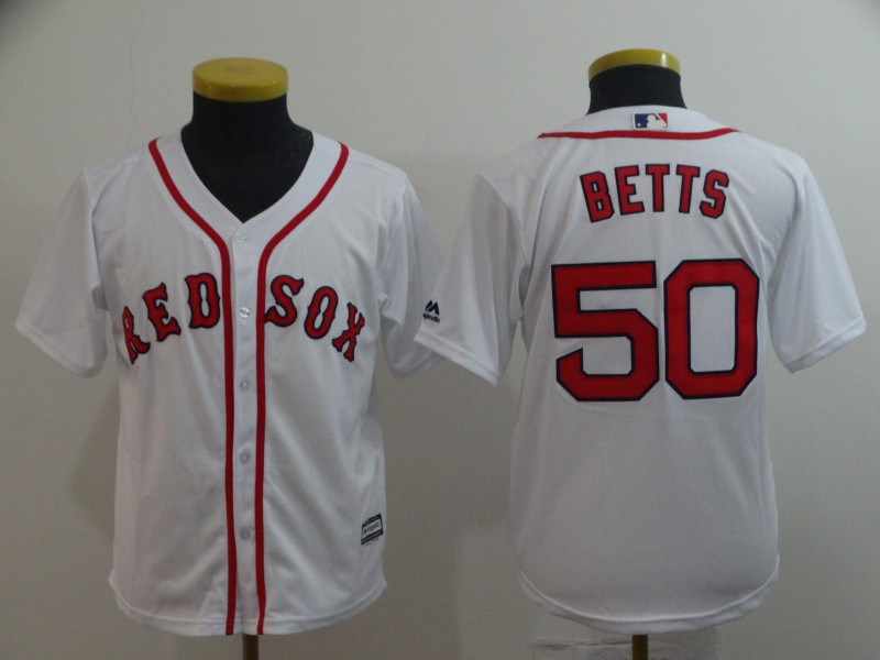 Red Sox 50 Mookie Betts White Youth Cool Base Jersey