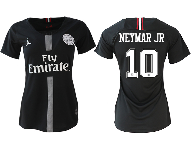 2018-19 Paris Saint-Germain 10 NEYMAR JR Jordan Champions League Black Women Soccer Jersey