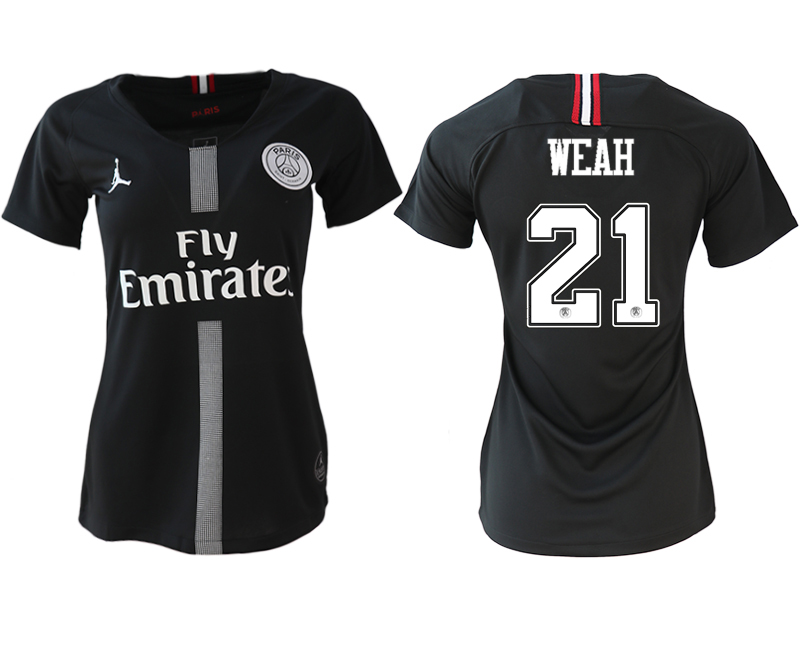 2018-19 Paris Saint-Germain 21 WEAH Jordan Champions League Black Women Soccer Jersey
