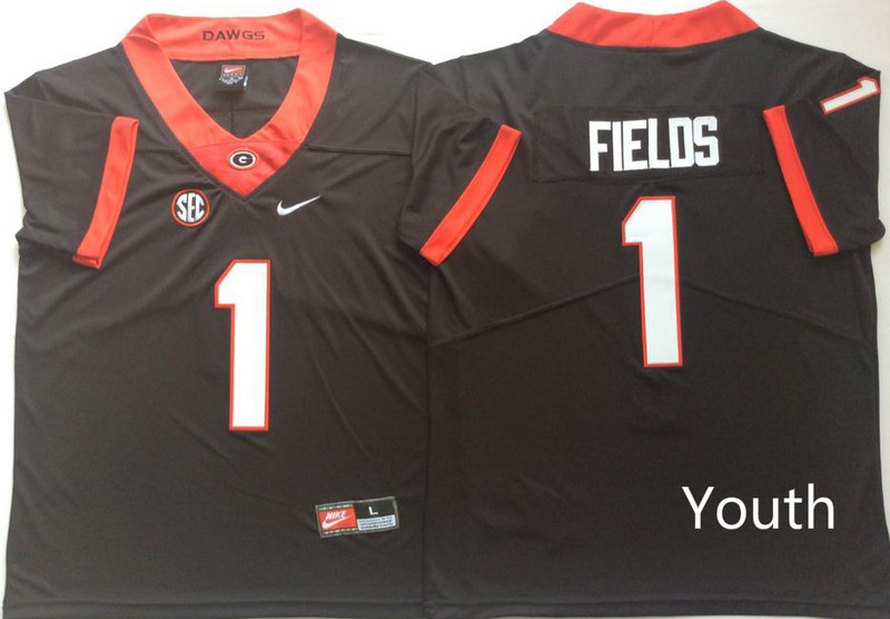 Georgia Bulldogs 1 Justin Fields Black Youth Nike College Football Jersey