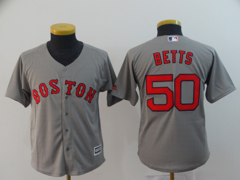 Red Sox 50 Mookie Betts Gray Youth Cool Base Jersey