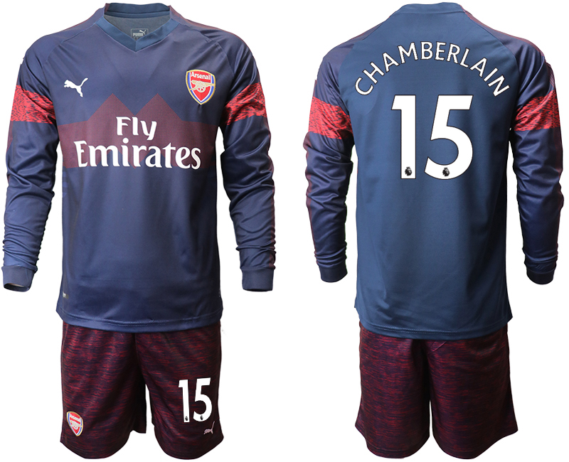 2018-19 Arsenal 15 CHAMBERLAIN Away Long Sleeve Soccer Jersey