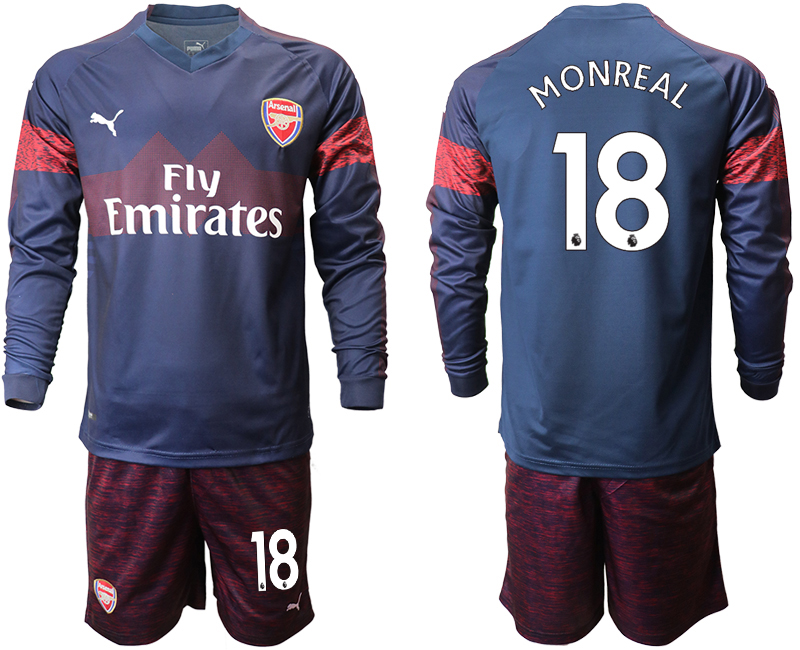 2018-19 Arsenal 18 MONREAL Away Long Sleeve Soccer Jersey