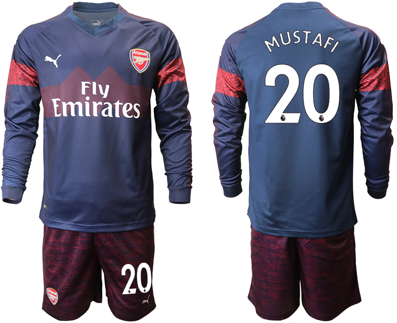 2018-19 Arsenal 20 MUSTAFI Away Long Sleeve Soccer Jersey