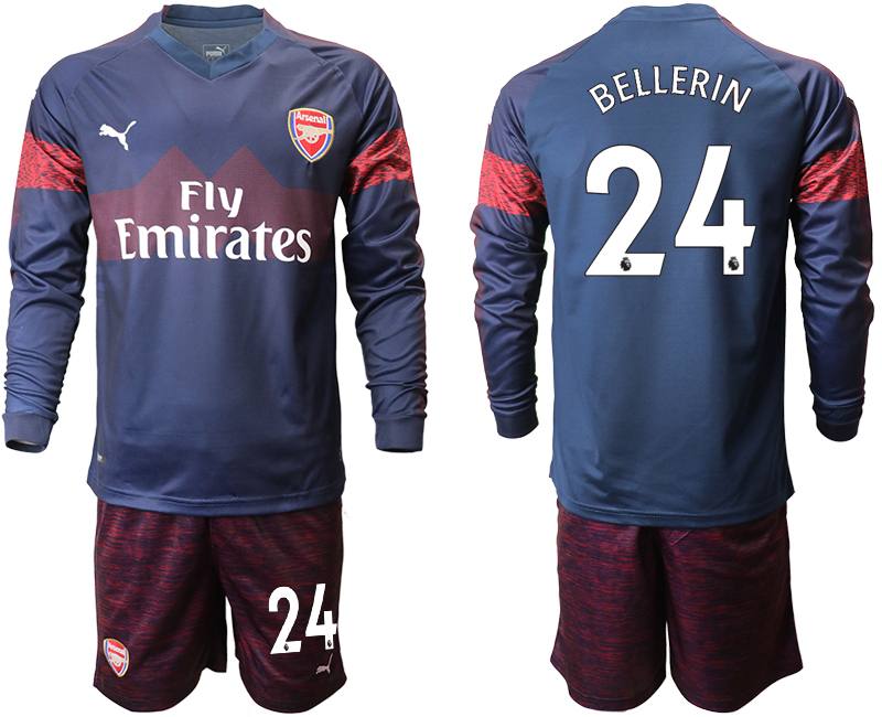 2018-19 Arsenal 24 BELLERIN Away Long Sleeve Soccer Jersey