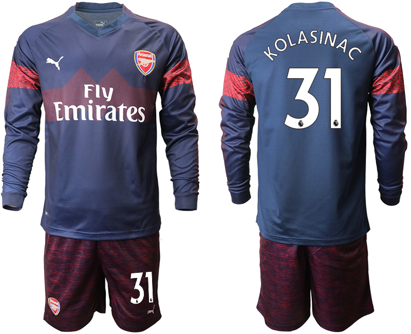 2018-19 Arsenal 31 KOLASINAC Away Long Sleeve Soccer Jersey
