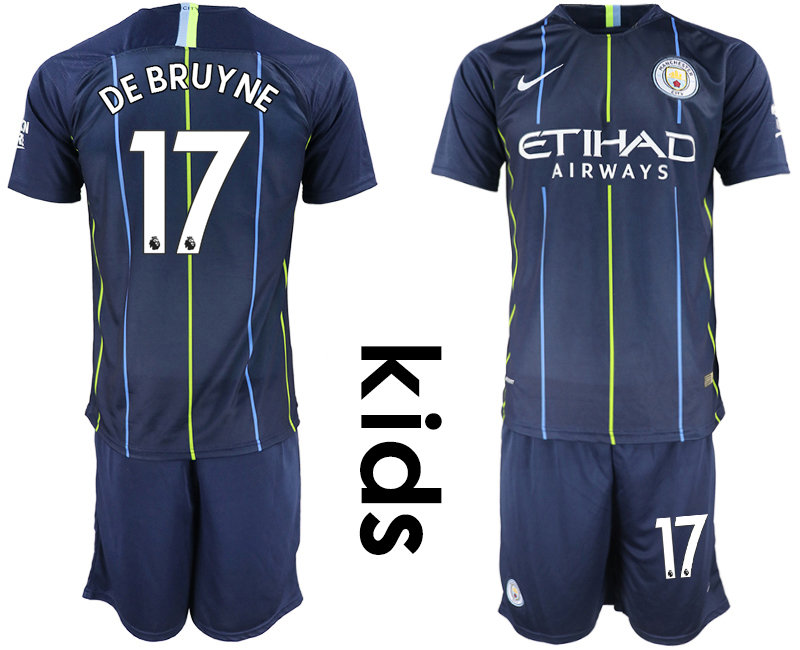 2018-19 Manchester City 17 DE BRUYNE Away Youth Soccer Jersey