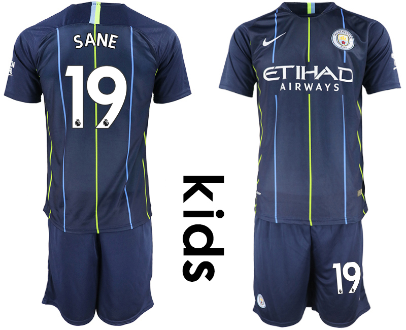 2018-19 Manchester City 19 SANE Away Youth Soccer Jersey