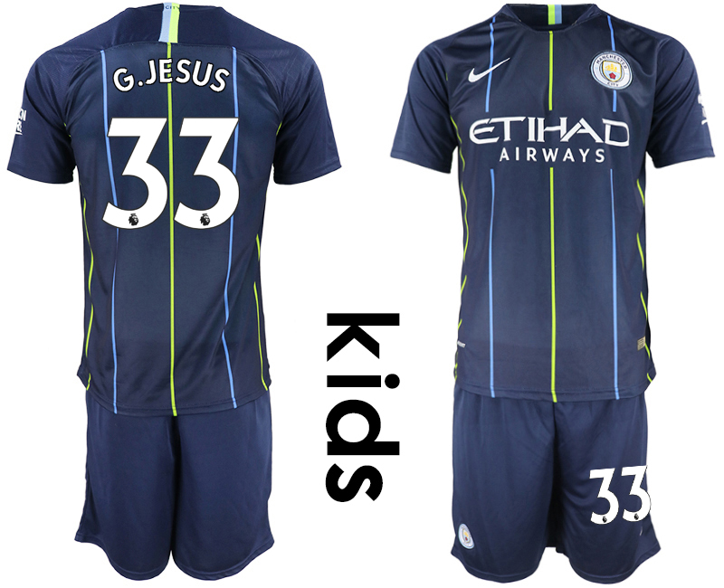 2018-19 Manchester City 33 G.JESUS Away Youth Soccer Jersey